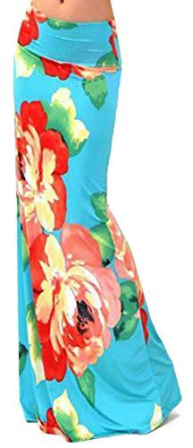 a765d033b3 Cruiize Womens Elegant Floral Printing High Waist Stretchy Maxi Skirts  Colour S -- Click for Special Deals #SummerOutfit