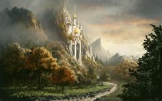 Post with 127 votes and 5794 views. Shared by A fairly large collection of Location Art Fantasy Kunst, Fantasy Map, Fantasy Forest, Background Pictures, Paths, Concept Art, Waterfall, Scenery, Clouds