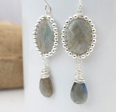Labradorite And Silver Dangle Earrings Statement by Jewels2Luv, $48.50