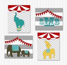 Circus Nursery Art - Circus Elephant Nursery Wall Decor, Set of 4 Personalized Prints, Modern Baby Boy Prints, Chevron, Mod, Circus Wall Art