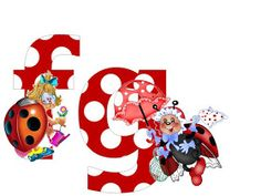 S.T.R.U.M.F.: Litere mari si cifre buburuze Smurfs, Alphabet, Minnie Mouse, Disney Characters, Fictional Characters, Collage, Ladybugs, Reptiles, Wall