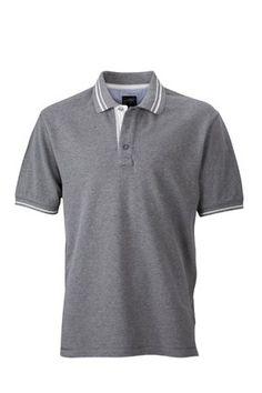 JN947 Herren Lifestyle Polohemd Poloshirt , Farbe: Grau , Gr. XL