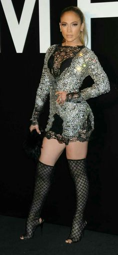 JLo Silver Black Dress Couture Stockings on knees
