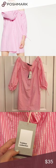 Zara off the shoulder dress Adorable and trendy off the shoulder Zara dress from the Trafaluc collection. Pink and white pinstripe. Bow ties at the end of the sleeves. Great with wedge sandals or flats. Comes from pet free and smoke free home. No damages. Brand new Zara Dresses Mini