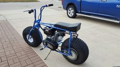 Bad Dog mini bike kit, powder coated illusion blueberry, with 8hp Predator & TAV2 30 series. (this beautifully done bike is not mine, however more info on the build can be found @ oldminibikes.com forum)