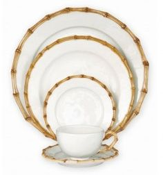 Bamboo dinnerware from Juliska for a summery table.