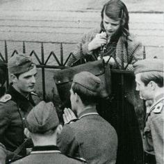Sophie Scholl with other members of The White Rose (Hans Scholl is on the far left)