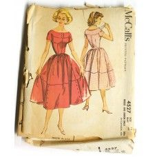 McCall's 4527 Vintage 1950s Dress Pattern Bust 34 Sewing Pattern