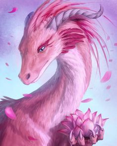 Lotus Dragon by Azany on DeviantArt Pink dragon Valentine day dragon Sakura dragon Idk which is it XD lol Mystical Animals, Mythical Creatures Art, Mythological Creatures, Magical Creatures, Fantasy Creatures, Dark Fantasy Art, Fantasy Kunst, Beautiful Fantasy Art, Fantasy Artwork