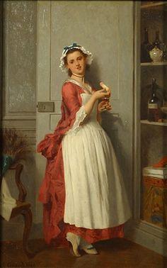 """Le gouter de la soubrette"" 1868 -- by Joseph Caraud (French, 1821–1905) A close translation,   [I hope] ""The Maid Tastes/Samples."""