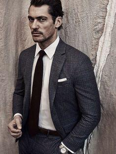 Grey micro check suit, brown tie, white shirt, white cotton p square