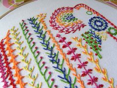 Knotted feather stitch sampler for TAST2013 | Flickr - Photo Sharing!