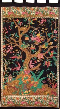 Tree of Life Tab Top Curtain Drape Panel Black/Beige #IndiaArts #TreeofLife