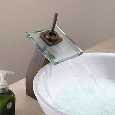 Waterfall Brass Bathroom Sink Faucet - Polished Brass Finish – AUD $ 105.65