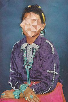 "Jordan Clark | Indian Jones | 2013 | Hand-cut collage on paper | 16.5cm x 24.75cm / 6.5"" x 9.75"" (paper)  Courtesy of the artist & CES Contemporary Gallery | http://www.yatzer.com/Quadrivium-CES-Contemporary-California"