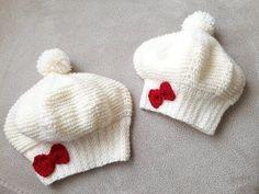 2019 Neu Modell Princess Baby Beret Making , Baby Hats Knitting, Baby Knitting Patterns, Knitting Socks, Crochet Patterns, Crochet Beret, Crochet Baby Hats, Knitted Slippers, Knitted Hats, Baby Girl Caps
