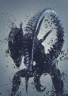 Alien warrior version 2. Splatter effect artwork inspired by the aliens universe, 2 of 5. #alien #movie #film #poster #metal #design #displate #home #decor #homedecor