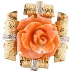 Engraved Rose Gold Fashion Ring in 14 Kt Rose Gold made of Diamonds and Natural Coral Flower in the centre.Diamonds ct Coral gr x Weight grR.F uiuhRing Size Italian French Usa any enquires, please contact the seller through the message center. Pink Gold Rings, Pink And Gold, Coral Ring, Red Coral, Light Blue Sapphire, Fashion Rings, Gold Fashion, Diamond Earing, Coral Jewelry