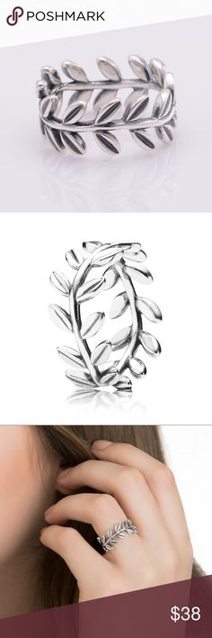 Pandora Silver Laurel Wreath Leaf Ring Beautiful ring. I'm great condition. Only used a couple times. Comes with box. No trades. Price is firm. Pandora Jewelry Rings