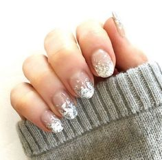 French-inspired foil tips look chic with a slightly elongated almond-shaped nail. @naominailsnyc