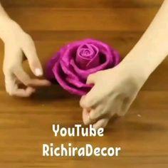 Best Indoor Garden Ideas for 2020 - Modern Fabric Roses Diy, Fabric Flower Tutorial, Rose Tutorial, Paper Flowers Craft, Paper Crafts Origami, Flower Crafts, Diy Crafts For Gifts, Foam Crafts, How To Make Ribbon