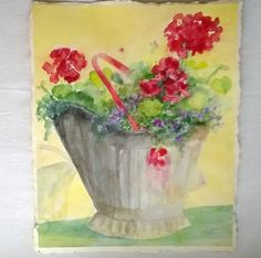 Watercolor Not a Print Painting Still Life with Red Geraniums and Coal Bucket Wall Hanging Home Decor Shabby Chic Flower Painting