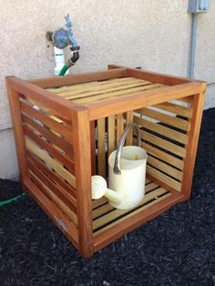 Box with shelf. Made to cover sprinkler valves.