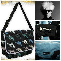 Andy Warhol Loop NYC Revolver/Gun BLUE Messenger Book Bag Modern Art Letter New!