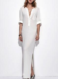 Solid 3/4 Sleeves Maxi Dress - Floryday @ floryday.com
