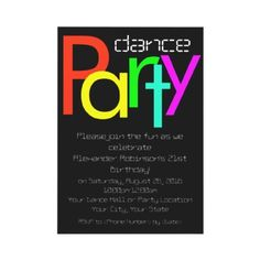 Dance party invitation, custom with neon letters and digital style text, $1.90