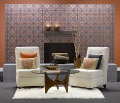 Portico Wall Tattoo Wall at Benjamin Moore. Good idea for an accent wall to add a pattern without the trauma of wallpaper. Painting Wallpaper, Of Wallpaper, Beautiful Interiors, Colorful Interiors, Benjamin Moore Paint, Wall Tattoo, Tattoo Art, D House, Bed Wall