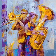Jazz improvisation. 60x60cm. Oil and acrylic on panel. Alfonso Cuñado