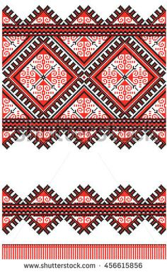 Ukrainian towel with ornament in vector