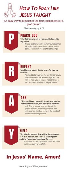 Do you want to pray like Jesus taught? Do you want to make sure that your prayers have all of the components that He taught in the Lord's Prayer. Use this simple acronym to help you pray as Jesus taught in the Bible. Good Prayers, Special Prayers, Bible Prayers, Bible Scriptures, Prayers Of The Righteous, Sample Prayer, Surrender To God, Praying For Others, Everyday Prayers