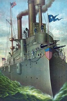 A bow view of the pride of the U.S. Navy's great white fleet. Done as an illustration for advertising a company based in Pittsburgh.