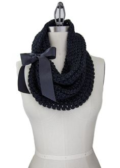BLACK KNIT COWL soft knit cowl with grosgrain bow by gertiebaxter