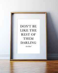 Coco Chanel Quote. Chanel Logo. Darling Quote. Chanel Home Decor. Chanel Fashion Quote. Chanel art print. Girl Room wall Girls Decor quotes