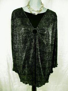 MAGGIE BARNES 2X Blouse Black Silver Built In Tank Top Plus 22 24W Ruffle Hem #maggiebarnes#fashion#glam#trend#2x#top#style#bling#deal
