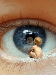 Kinder Babybilder: Cute Baby Seeing Eye - Fotokunst - Soul Collage, Baby Eyes, Photoshop, Cute Baby Pictures, Beautiful Gif, Eye Art, Surreal Art, Art Plastique, Optical Illusions