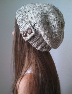 Knit slouchy hat - OATMEAL - (more colors available - made to order)