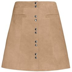 Exclusive for Intermix Sierra Suede Mini Skirt (2 175 ZAR) ❤ liked on Polyvore featuring skirts, mini skirts, bottoms, beige skirt, short skirts, suede skirt, button front mini skirt and short mini skirts