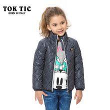 148241410799 TOK TIC winter girls jacket warm outerwear coat fashion dot kid winter down coats  children clothing autumn cotton Parkas cothes