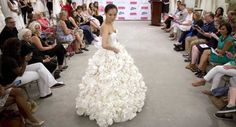 Bridal dresses made of toilet paper showcased in NY #sewing #crafts #handmade #quilting #fabric #vintage #DIY #craft #knitting