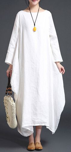 b7306cffe0 fashion white linen plus size O neck fall dresses Dresses Elegant