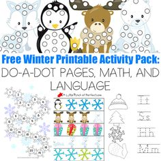 Free Winter Printable Activity Pack: DO-A-DOT PAGES, MATH, AND LANGUAGE