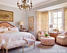 Sweet pink accents punctuate the master bedroom. - Photo: Emily Jenkins Followill / Design: Carolyn Kendall with Betsy Trabue