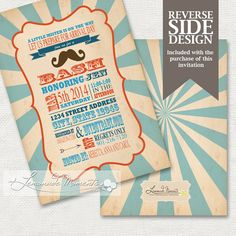 Mustache Baby Shower Invitation / Mustache Bash / Little Man Invite Printable
