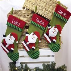 Personalised Christmas Stocking - Cosy 3D Santa. Embroidered Stocking for all the family. Affordable Christmas Decoration. WowWee.ie | €14.00