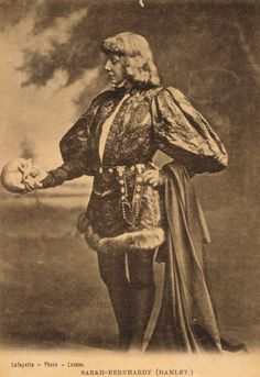 Portrait of Sarah Bernhardt as Hamlet. Photo by Lafayette Photo, London, 1880-85