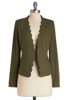 Detour du Jour Blazer in Olive. Every day you like to take a new path or try a novel style - such as this olive-green blazer - to keep your mind and mood alive! #gold #prom #modcloth